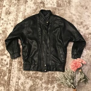 Express Men's VTG Leather Bomber Jacket Size Small